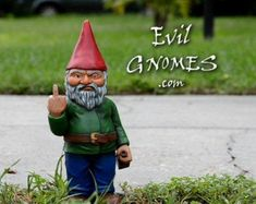 Dalanne Miller on Etsy Funny Garden Gnomes, Funny Gnomes, Garden Frogs, Gnome Garden, Evil Gnome, Gnome Statues, Outdoor Statues, Unique Gardens, Hand Cast