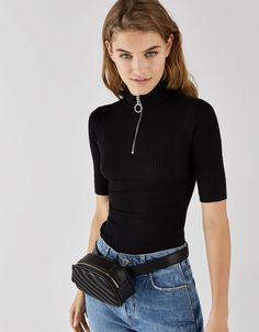 Turtleneck T-shirt - Tees - Bershka United States 50 Fashion, Fashion News, Fashion Outfits, Harry Styles Ropa, Stylish Tops For Girls, Turtleneck T Shirt, Gamine Style, Cute Tops, Aesthetic Clothes