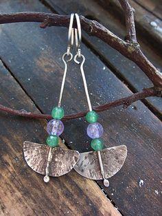 Statement Earrings, Silver Earrings,Green,Amethyst Earrings, Dangle Earrings, Emerald Earrings, Boho Earrings, Rustic Earrings,Long Earrings