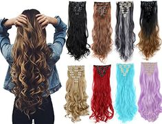 Long Wavy Curly Full Head Clip in Hair Extensions Women Lady Hairpiece dark brown & ash blonde) Curling Iron Hairstyles, Curled Hairstyles, Synthetic Hair Extensions, Clip In Hair Extensions, Bleach Blonde, Ash Blonde, Wedding Hairstyles For Long Hair, Hair Pieces, Long Hair Styles