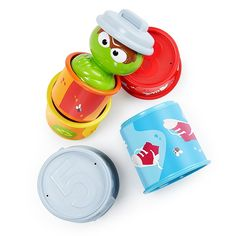 Sesame Street Bright Starts Oscar The Grouch's Stacking Cans Stackable Cups Cause And Effect Games, Oscar The Grouch, Anime Dolls, Buy Buy Baby, Fine Motor Skills, Cleaning Wipes, Bright, Canning, Toys