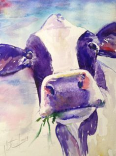 """I Never Saw a Purple Cow"" Watercolor on paper, 9"" x 11"", 2014"