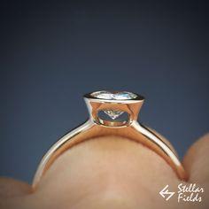 Peekaboo full bezel moissanite engagement ring in 14k rose gold - Forever One moissanite, simple, modern, unique bezel ring