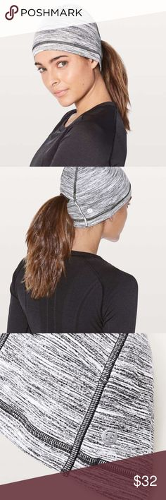 Run It Out Toque Enjoy running in the cold in this cozy toque. It'll keep you toasty during your sprints with a fitted design. Made with Rulu™ fabric that is soft, sweat-wicking, and four-way stretch. Let your locks loose with the Set-My-Ponytail-Free detail, reflective details help keep you on the radar.  Colour space dye camo black white lululemon athletica Accessories Hats