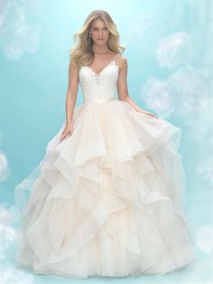 In Store Now: Airy, textured ruffles comprise the skirt of this delicate ballgown.