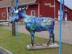 Moosefest 2005 - Bennington, VT Deer Family, Animal Statues, Beautiful Streets, Animal Paintings, Vermont, Fascinator, New England, Moose, Giraffe