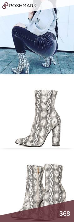 Bryce Vegan Snake Skin Print Ankle Booties  Boutique Item! The latest bootie trend with celebs like Kylie Jenner and Kim Kardashian! Great for festivals! These booties feature a Vegan leather material + vegan suede upper, all over snake print, Pointy Toe, chunky heel, and 4.25 heel height. Cape Robbin Shoes Ankle Boots & Booties