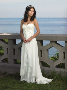 Lace Detailed Bodice Strapless Ivory Ruffled Long Empire Beach Wedding Dress