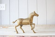 Vintage Brass Zebra // Solid Brass by genrestoration on Etsy, $89.00