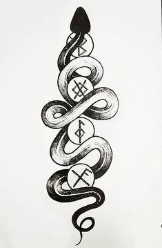 """Vikings have become so popular over the years. The word """"viking"""" comes from Old Norse, meaning """"a pirate raid."""" The mystique of Viking culture and their beliefs still remain relevant today. Here are the top Viking snake tattoo ideas for men and women. Viking Rune Tattoo, Norse Tattoo, Viking Runes, Celtic Tattoos, Tribal Tattoos, Wiccan Tattoos, Inca Tattoo, Indian Tattoos, Viking Tattoo Design"""
