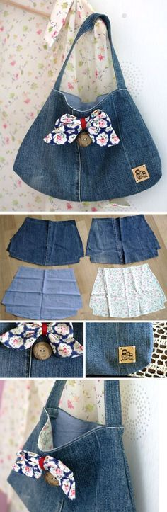 How to sew a small Handbag of denim old jeans. DIY Tutorial http://www.free-tutorial.net/2016/12/upcycled-denim-purse.html
