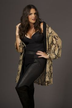 Snake Over printed Silk Blend Burnout Kimono with PU Animal Panelled Leggings - Plus Size Wallis - Live Unlimited AW14