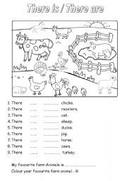 English worksheet: ON THE FARM - there is/there are