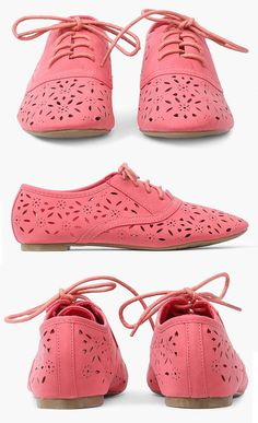 Coral Cutout Oxford Flats ♥ {Several Colors - On Sale 9.99} @Adia C Schamber  Thanks for sending that pin to me. These are super cute!