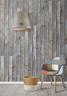 Rustic Wood Panels Wallpaper design by Milton & King | BURKE DECOR