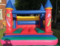 This balloon theme Bouncy Castle is very popular and great value for money - this castle does not include a rain cover . The front panels feature images of balloons and stars , and red blue and yellow on the back wall and is Ideal for most sized gardens and can be used for indoors and outdoors.