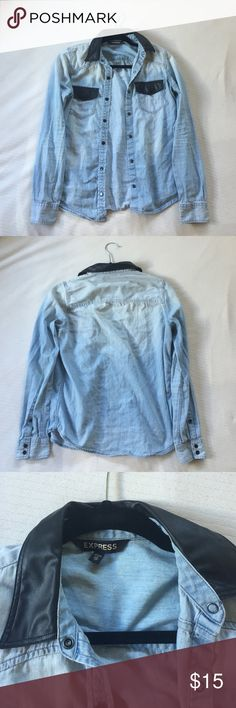 Light blue jean jacket, with leather detailing Used, Light Blue Denim Jacket, Great for Fall! Express Jackets & Coats Jean Jackets