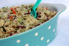 Ramen Noodle Salad made with ramen noodles and cole slaw mix. Great for a picnic or barbeque.