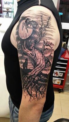 Tree dragon wolf in moonlight Tattoo by me - sleeve finished