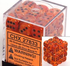 Chessex Dice d6 Sets: Vortex Orange with Black - 12mm Six Sided Die (36) Block of Dice - List price: $13.98 Price: $11.12  #Chessex