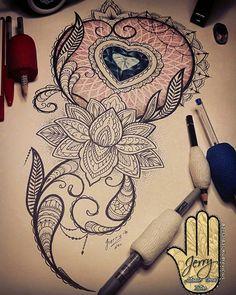 lotus flower with beautiful heart diamond tattoo design idea. Mandala amd lace patterns. By Dzeraldas Jerry Kudrevicius. Atlantic coast tattoo