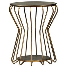 Brass Cage Side Table – Black Rooster Decor