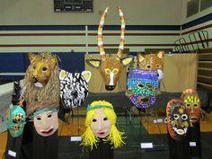 3rd grade paper mache masks made of original templates; lesson by art teacher: Susan Joe