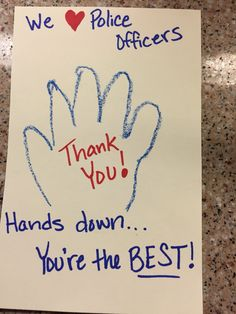 At your National Night Out party, get kids to write thank you cards for Spokane Police Department officers. For more NNO party ideas visit http://www.spokanecops.org/NNO-party-ideas