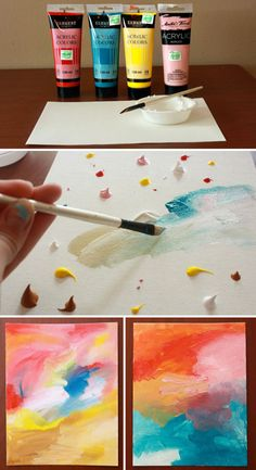 Easy Abstract Acrylic Painting DIY – Birch And Button Watercolor Art Diy, Watercolor Art Paintings, Diy Painting, Painting Abstract, How To Abstract Paint, Abstract Painting Easy, Colorful Abstract Art, Diy Canvas Art, Diy Wall Art
