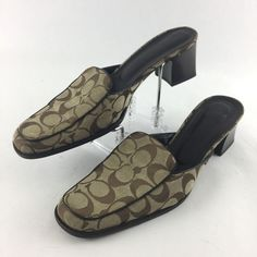 3e3e44248a098 Coach Jade Signature Canvas Mules Sandals Size 9.5 B Stacked Heel Brown  Italy  Coach