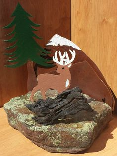 Wood+and+Stone+Sculpture | Deer Steel Stone and Wood Silhouette Sculpture