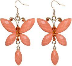Orange Butterfly Rhinestone Faceted Dangle Earrings - Candy Luxx