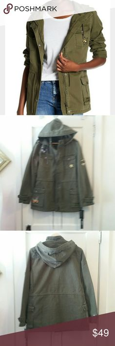 BNCI by Blanc Noir Field Jacket Awesome unique jackets with kitschy patches, zipper with button closure overtop, patch pockets, hood.  Olive color is best represented in the cover photo. Brand new with tags, perfect condition. BNCI Jackets & Coats Utility Jackets