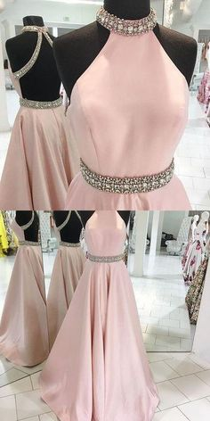 light pink satin open back A-line beaded long prom dress, PD7692