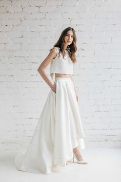 Bridal skirt -Lily .  Full pleats luxurious ivory Mikado skirt featuring high-low hem cascades into a subtle train. Perfect for bride prefering to show Your shoes ! Skirt is pretty heavy but very comfortable to wear ! - side pockets; - zipper at the back ;   Skirt will be made specially for You ,exactly to Your size . I will personally contact You via conversation after purchase asking required measurements and all the details to create perfect fit for You . Its natural waist and hips…