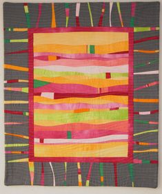 """Contemporary quilt made from hand dyed discarded shirts and """"a grey fabric I had on my shelf"""". She did a wonderful job."""
