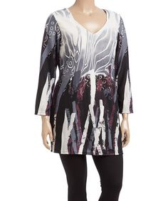 Black & Brown Abstract V-Neck Tunic - Plus #zulily #zulilyfinds