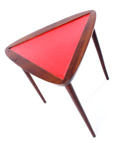 Danish Modern Triangle Table  Description:  1960-70's Mid Century Modern Design at it's finest. Great color side table.