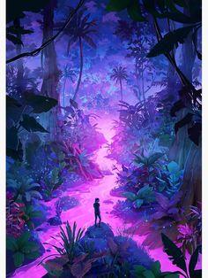 Fantasy Artwork, Fantasy Concept Art, Fantasy Art Landscapes, Fantasy Landscape, Landscape Art, Concept Art World, Space Fantasy, Neon Jungle, Jungle Art