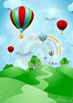 Balões de ar quente sobre as colinas