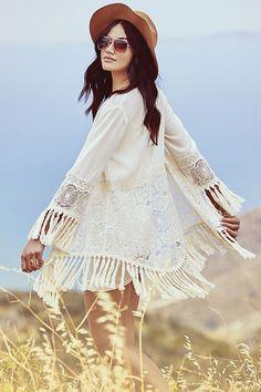 Cream Fringe Kimono