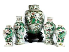 Set of five famille verte vases, China, Qing Dynasty, Kangxi period, 1662 - 1722