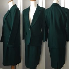 """☘ vintage dark green PENDLETON wool skirt suit premium vintage at its finest. Jacket petite 4, a line skirt petite 6 but please go by actual measurements. fits like a small. NO flaws to note. pure dark green wool. made in USA. fully lined. single button jacket with two front pockets. skirt also has 2 pockets. back zip. skirt flat measures 12 3/4"""" waist 25"""" total length. single breasted jacket 27"""" length, 18.5"""" pit to pit, 21"""" sleeve length, 5.5"""" shoulder (26.5"""" sleeve hem to collar)…"""