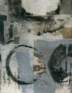 Abstract boro painting with enso circles ~ mixed media Wabi-sabi collage ~ by elena ray Mix Media, Mixed Media Art, Abstract Expressionism, Abstract Art, Art Quotidien, Arte Yin Yang, Arte Popular, Medium Art, Collage Art
