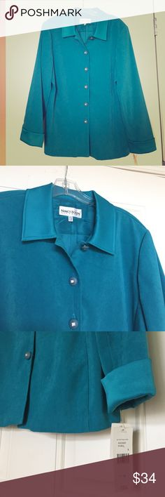 "🆕Gorgeous Long Turquoise Jacket NWT Rich Turquoise Blue/Green Long Sleeve Button-Down Jacket w/ Shiny Rhinestone buttons! Lined. Size 14. City Girl by Nancy Bolen. Material: 97% Polyester, 3% Spandex. 💠Measurements: Length from shoulder: 27"", Bust (buttoned): 22"" flat, 44"" full. Sleeves: 24.5"". Retail $140!💃Offers welcome & bundling discounts available!💃 City Girl Jackets & Coats"