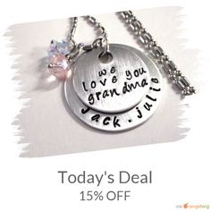 Today Only! 15% OFF this item.  Follow us on Pinterest to be the first to see our exciting Daily Deals. Today's Product: Sale - Today's Deal Grandma Necklace, Personalized Jewelry, Name Necklace, Hand Stamped Jewelry, Jewelry for Grandma, Birthstone Necklace Buy now: https://www.etsy.com/listing/166579488?utm_source=Pinterest&utm_medium=Orangetwig_Marketing&utm_campaign=1st   #etsy #etsyseller #etsyshop #etsylove #etsyfinds #etsygifts #musthave #loveit #instacool #shop #shopping…