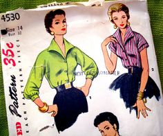 1950s Vintage Sewing Pattern  Blouses  Bat Collar  by SelvedgeShop, $12.00