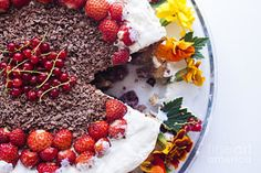 Cake Berries Photograph - Berries And Flower Cream Cake by Daniel Ronneberg