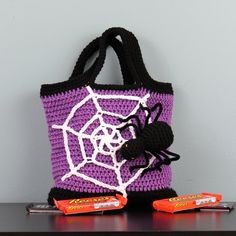Spider with Web Halloween Trick-or-Treat Bag - Hand Crocheted by StitchedInADream on Etsy https://www.etsy.com/listing/245472414/spider-with-web-halloween-trick-or-treat