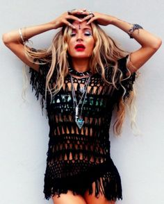 black crochet throw over Rat And Boa, Beach Hair, Editorial Fashion, All Black, Boho Fashion, My Style, Boho Style, Style Inspiration, Gypsy